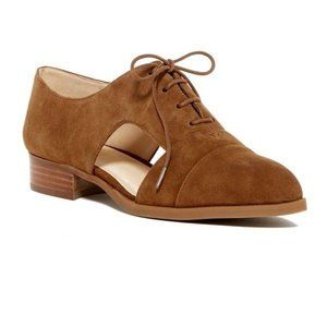 Nine West  Women's Brown Suede Cut-out Lace Oxford